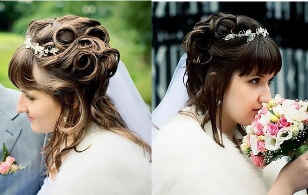 свадебные причёски на короткие волосы с чёлкой