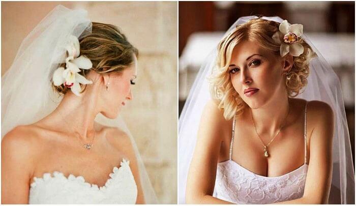 свадебные причёски на короткие волосы с фатой
