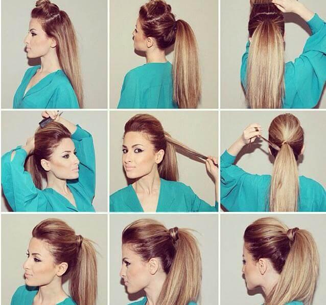 Причёска из хвоста с начёсом